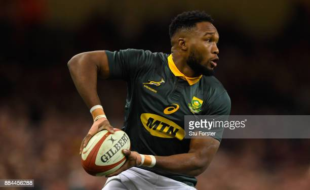 Springboks player Lukhanyo Am in action during the International between Wales and South Africa at at Principality Stadium on December 2 2017 in...