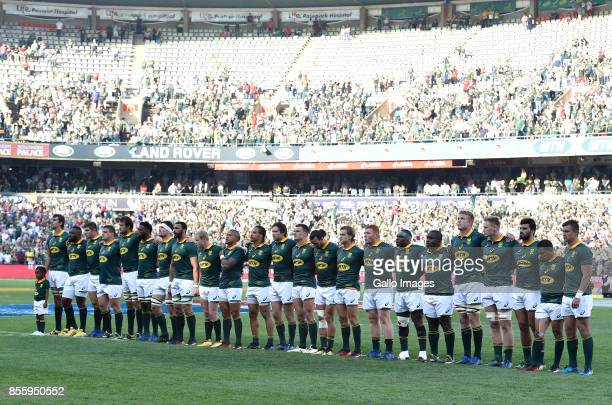 Springboksline up during the Rugby Championship 2017 match between South Africa and Australia at Toyota Stadium on September 30 2017 in Bloemfontein...