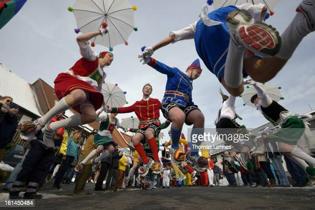 Springerzug carnival parade on February 11 2013 in Herbstein Germany The Springerzug literally 'jumping parade' is an interpretation of carnival...