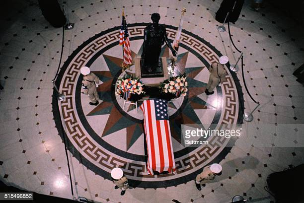 Springfield Illinois Surrounded by an honor guard the body of un Ambassador Aldai Stevenson lies in state in the rotunda of the Illinois State...