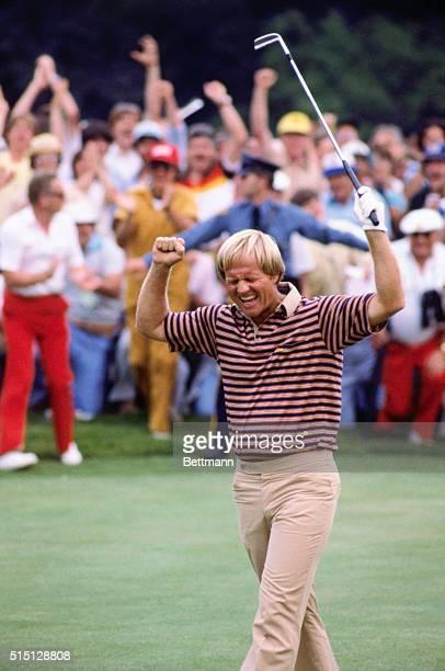 Springfield, New Jersey: Jack Nicklaus raises arm, June 15, after winning US Open at Baltusrol Golf Course. Jack Nicklaus celebrates, June 15, after...
