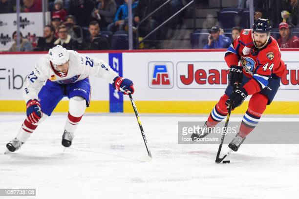 Springfield Thunderbirds defenceman Julian Melchiori gains control of the puck during the Springfield Thunderbirds versus the Laval Rocket game on...