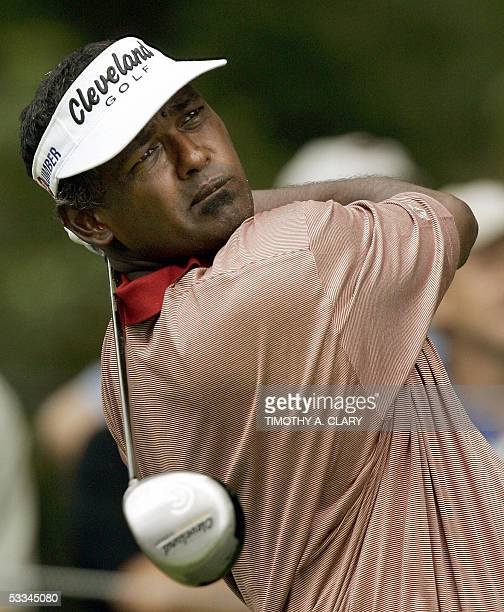 Springfield, UNITED STATES: Defending champion Vijay Singh of Fiji tees off on the 1st hole during his practice round for the 87th PGA Championship...