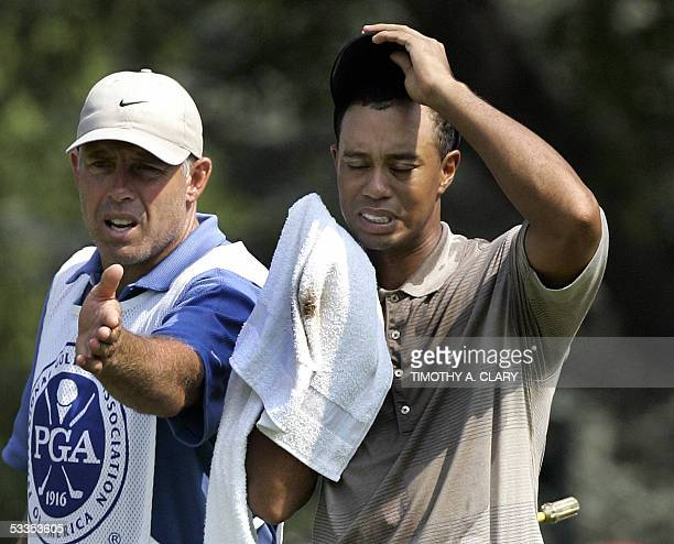 Springfield, UNITED STATES: Tiger Woods of the US wipes his head as his caddie Steve Williams points to his putt during the first round of the 87th...