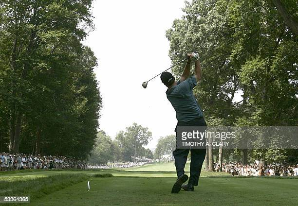 Springfield, UNITED STATES: Tournament leader Phil Mickelson of the United States hits his tee shot on the 5th hole during the second round of the...