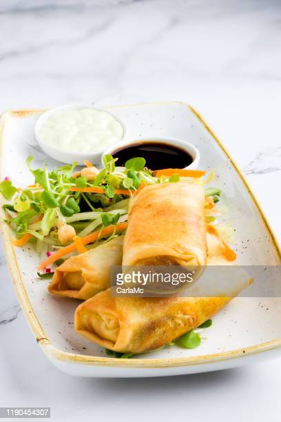 springrolls with soy sauce - soy sauce stock pictures, royalty-free photos & images