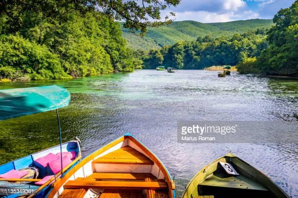 springs at saint naum monastery at lake ohrid in macedonia, balkans. - macedonië land stockfoto's en -beelden