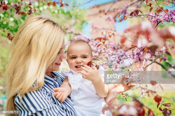 Springtime blossoms and young family