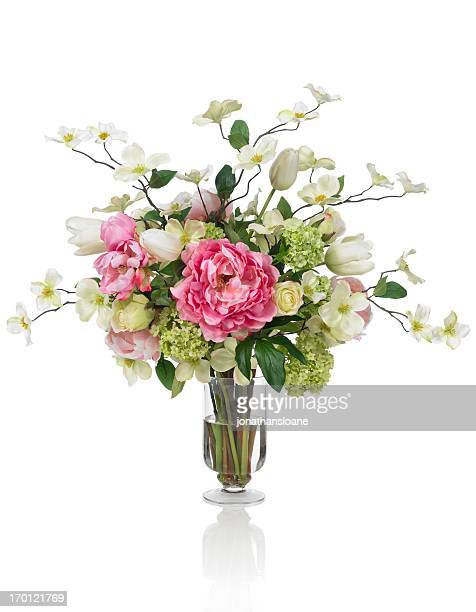 springtime dogwood and peony bouquet on white background - bunch stock pictures, royalty-free photos & images