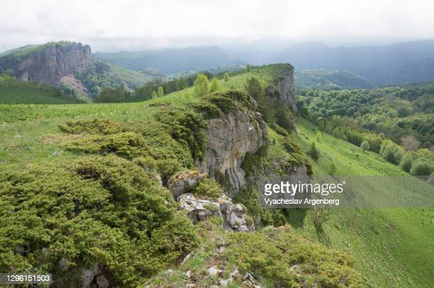 springtime in the mountains, fresh green colors, bolshoy tkhach, caucasus mountains - argenberg stock pictures, royalty-free photos & images