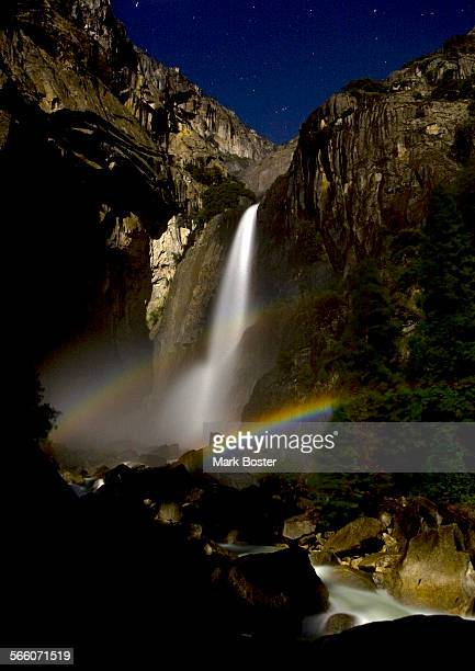 Springtime in Yosemite means that it is a perfect time to observe a double lunar rainbow or moonbow created in the mist of lower Yosemite Fall while...