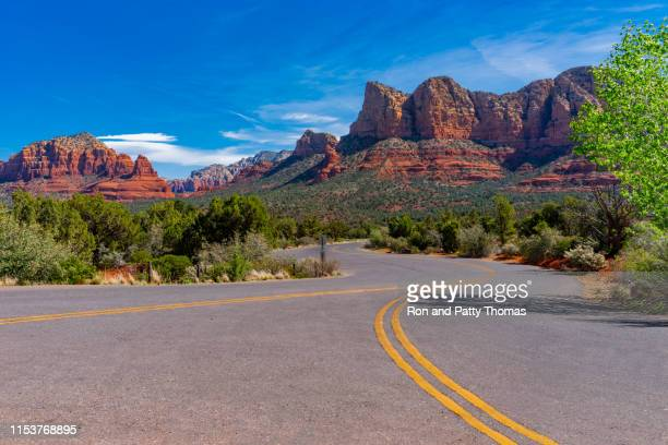 springtime  overview of red rocks at sedona az (p) - arizona stock pictures, royalty-free photos & images