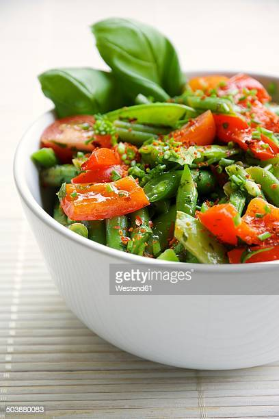 Springtime salad with green beans, sugar snap pea pods, red bell pepper and cherry tomatoes