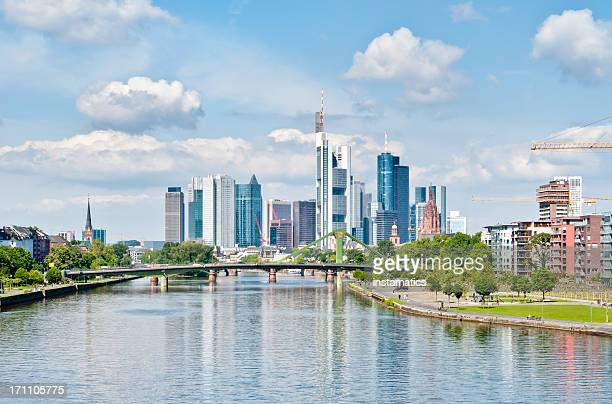 springtime skyline of frankfurt am main - frankfurt main tower stock pictures, royalty-free photos & images