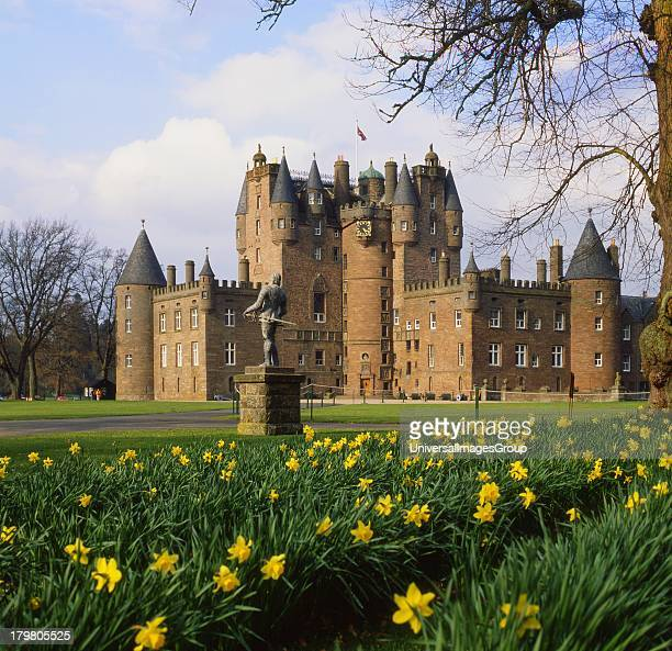 Springtime view of Glamis Castle from grounds Glamis Angus Scotland United Kingdom