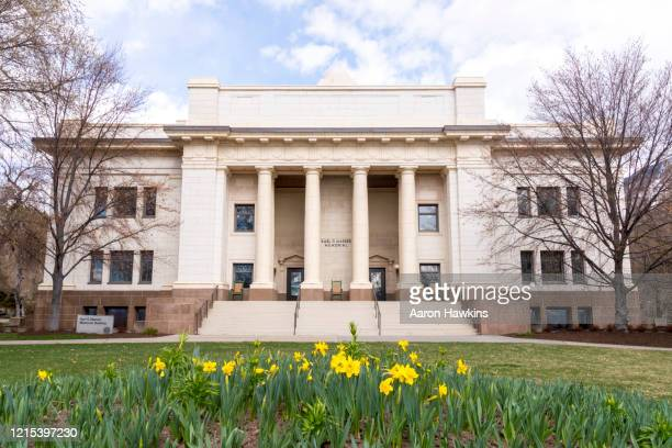 springtime view of the maeser building on the brigham young university campus - provo stock pictures, royalty-free photos & images