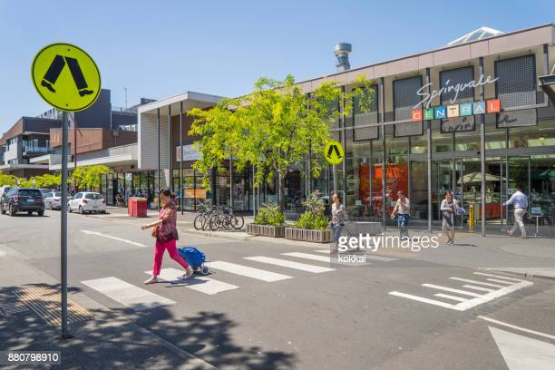 springvale, melbourne - pedestrian crossing sign stock photos and pictures