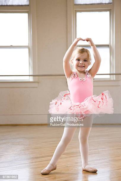 Springville, Utah, USA, Little ballet dancer (2-3) exercising, portrait
