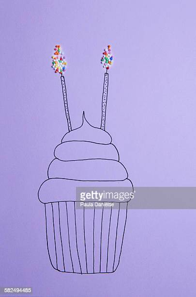 sprinkle cupcake - mixed media stock pictures, royalty-free photos & images