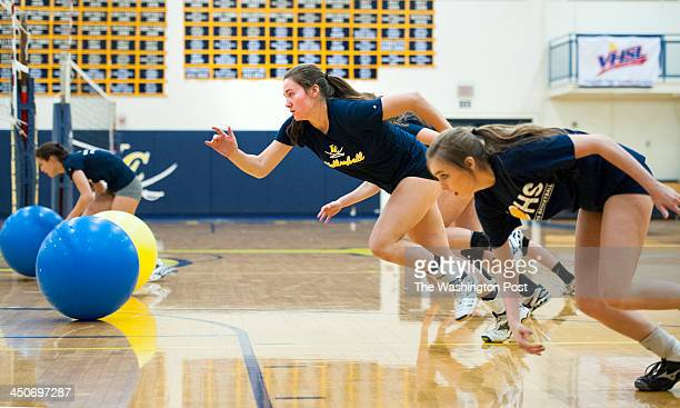 Sprint and agility drills are part of the two and a half hour practice for the Loudoun County volleyball team Wednesday November 13 2013 in Leesburg...