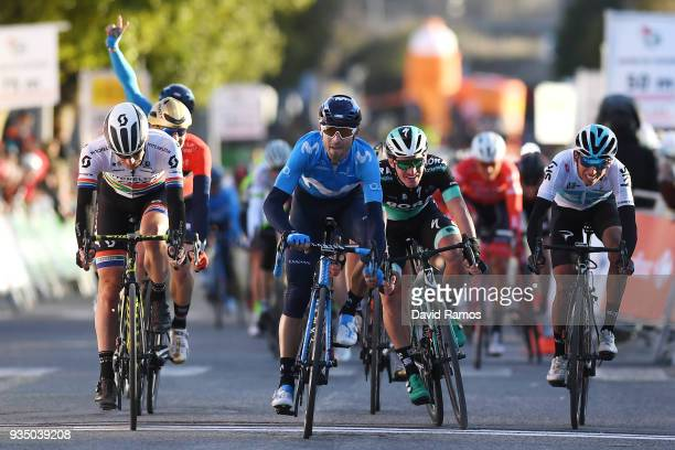 Sprint / Arrival / Alejandro Valverde Belmonte of Spain and Team Movistar / Daryl Impey of South Africa and Team MitcheltonScott / Jay McCarthy of...