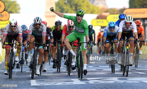 Sprint / Arrival / Alexander Kristoff of Norway and UAE Team Emirates / Sam Bennett of Ireland and Team Deceuninck QuickStep Green Points Jersey /...