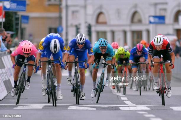 Sprint / Arrival / Alvaro Hodeg of Colombia and Team Deceuninck-QuickStep / Edward Theuns of Belgium and Team Trek-Segafredo / Sacha Modolo of Italy...