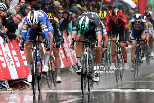 Sprint / Arrival / Alvaro Jose Hodeg Chagui of Colombia and Team Deceuninck - Quick-Step / Celebration / Pascal Ackermann of Germany and Team...