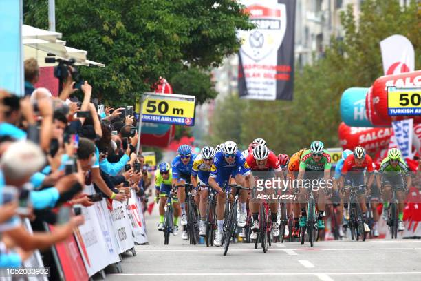 Sprint / Arrival / Alvaro Jose Hodeg Chagui of Colombia and Team Quick Step Floors / John Degenkolb of Germany and Team TrekSegafredo / Nathan Haas...