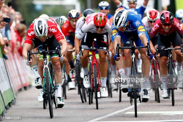 Sprint / Arrival / Alvaro Jose Hodeg Chagui of Colombia and Team Deceuninck-QuickStep / Sam Bennett of Ireland and Team Bora-Hansgrohe Red Points...