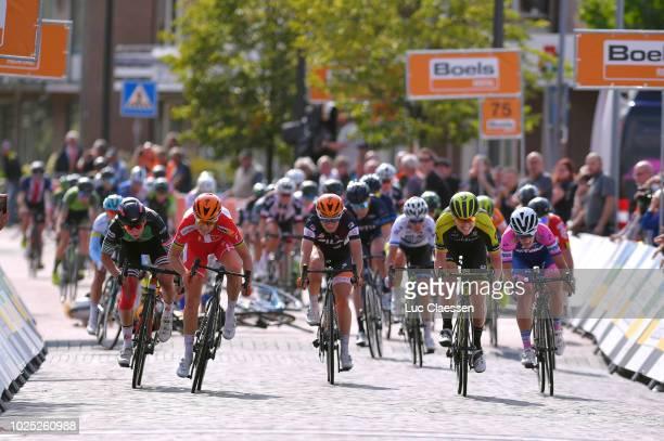 Sprint / Arrival / Amalie Dideriksen of Denmark and Team Boels Dolmans Cycling Team / Lorena Wiebes of Netherlands and Team Parkhotel Valkenburg /...