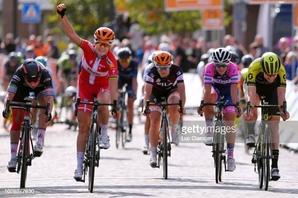 Sprint / Arrival / Amalie Dideriksen of Denmark and Team Boels Dolmans Cycling Team / Celebration / Lorena Wiebes of Netherlands and Team Parkhotel...