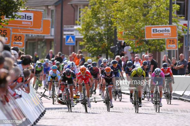 Sprint / Arrival / Amalie Dideriksen of Denmark and Team Boels Dolmans Cycling Team / Lorena Wiebes of Netherlands and Team Parkhotel Valkenburg /...