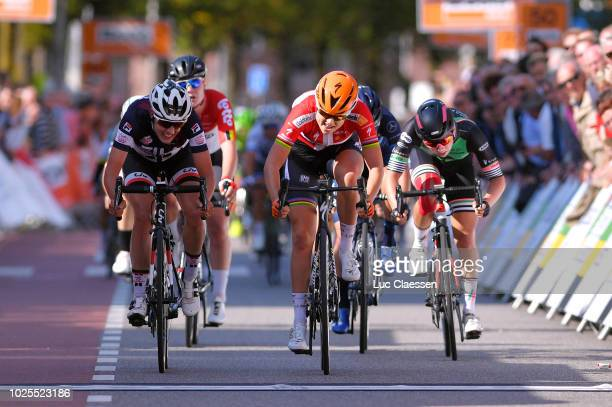 Sprint / Arrival / Amalie Dideriksen of Denmark and Team Boels Dolmans Cycling Team / Lucinda Brand of Netherlands and Team Sunweb / Lorena Wiebes of...