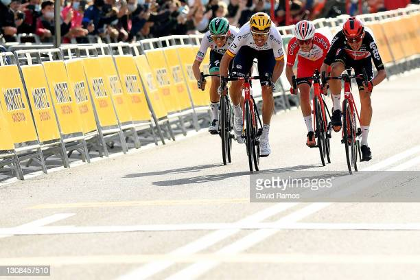 Sprint / Arrival / Andreas Lorentz Kron of Denmark and Team Lotto Soudal, Luis Leon Sanchez Gil of Spain and Team Astana – Premier Tech, Rémy Rochas...