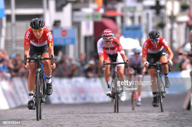 Sprint / Arrival / Annelies Dom of Belgium and Team Lotto Soudal Ladies / Valerie Demey of Belgium and Lotto Soudal Ladies / Sanne Cant of Belgium...