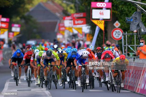 Sprint / Arrival / Arnaud Demare of France and Team Groupama - FDJ / Caleb Ewan of Australia and Team Lotto Soudal Yellow Leader Jersey / Daniel...