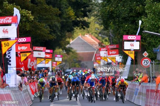 Sprint / Arrival / Arnaud Demare of France and Team Groupama - FDJ / Caleb Ewan of Australia and Team Lotto Soudal Yellow Leader Jersey / Daniel...