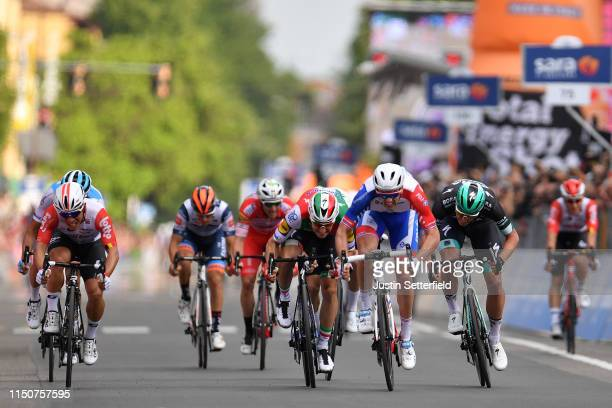 Sprint / Arrival / Arnaud Demare of France and Team Groupama FDJ / Elia Viviani of Italy and Team Deceuninck QuickStep / Rudiger Selig of Germany and...