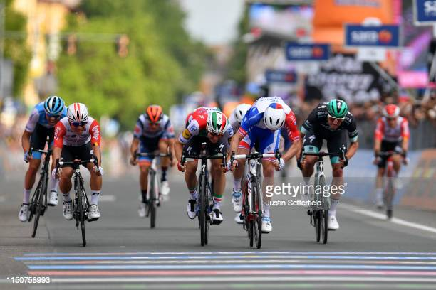 Sprint / Arrival / Arnaud Demare of France and Team Groupama - FDJ / Elia Viviani of Italy and Team Deceuninck - Quick-Step / Rudiger Selig of...