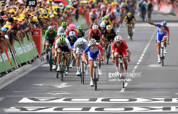 Sprint / Arrival / Arnaud Demare of France and Team Groupama FDJ / Christophe Laporte of France and Team Cofidis / Alexander Kristoff of Norway and...