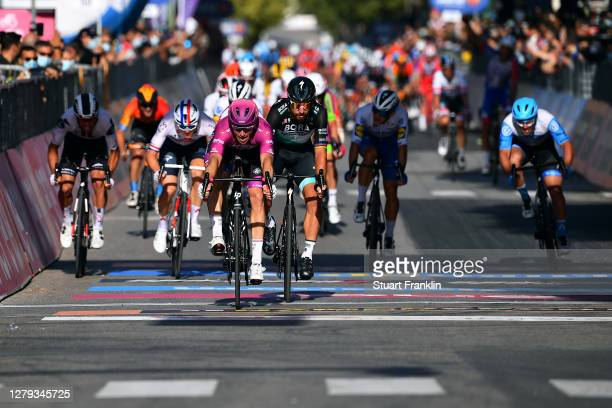 Sprint / Arrival / Arnaud Demare of France and Team Groupama - FDJ Purple Points Jersey / Peter Sagan of Slovakia and Team Bora - Hansgrohe / Michael...