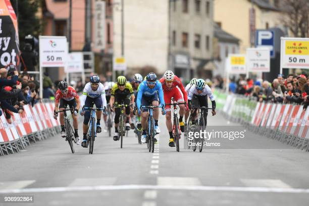 Sprint / Arrival / Bjorg Lambrecht of Belgium and Team Lotto Soudal / Alejandro Valverde Belmonte of Spain and Team Movistar White Leader Jersey /...