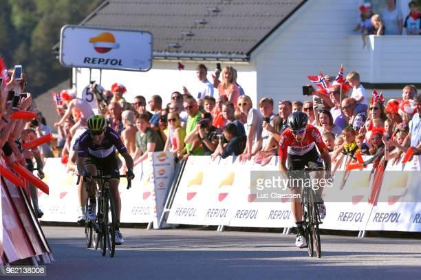 Sprint / Arrival / Bjorg Lambrecht of Belgium and Team Lotto Soudal / Michael Albasini of Switzerland and Team Mitchelton-Scott Black Points Jersey /...