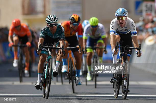Sprint / Arrival / Bryan Coquard of France and Team BB Hotels Vital Concept / Elia Viviani of Italy and Team Cofidis European Champion Jersey / Sonny...