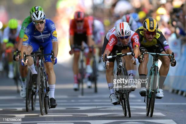 Sprint / Arrival / Caleb Ewan of Australia and Team Lotto Soudal / Dylan Groenewegen of The Netherlands and Team Jumbo-Visma / Elia Viviani of Italy...