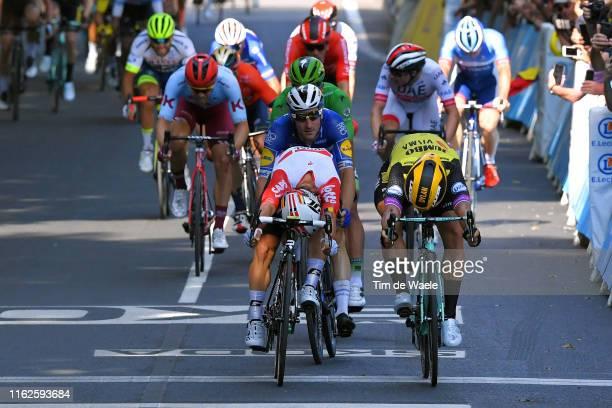 Sprint / Arrival / Caleb Ewan of Australia and Team Lotto Soudal / Dylan Groenewegen of The Netherlands and Team JumboVisma / Elia Viviani of Italy...