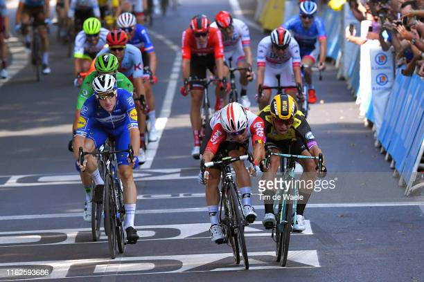 Sprint / Arrival / Caleb Ewan of Australia and Team Lotto Soudal / Dylan Groenewegen of The Netherlands and Team JumboVisma / Elia Viviani of Italy...