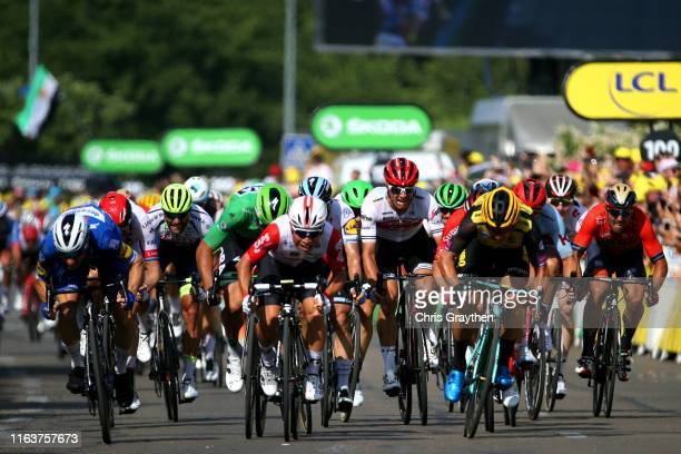 Sprint / Arrival / Caleb Ewan of Australia and Team Lotto Soudal / Elia Viviani of Italy and Team Deceuninck QuickStep / Dylan Groenewegen of The...