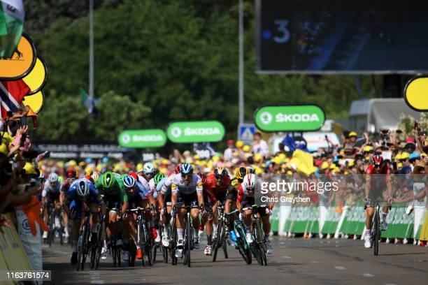 Sprint / Arrival / Caleb Ewan of Australia and Team Lotto Soudal / Elia Viviani of Italy and Team Deceuninck - Quick-Step / Dylan Groenewegen of The...